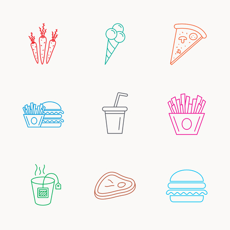 ice tea: Hamburger, pizza and soft drink icons. Tea bag, meat and chips fries linear signs. Ice cream, carrot icons. Linear colored icons.