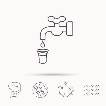 waterworks: Save water icon. Crane or Faucet with drop sign. Global connect network, ocean wave and chat dialog icons. Teamwork symbol.