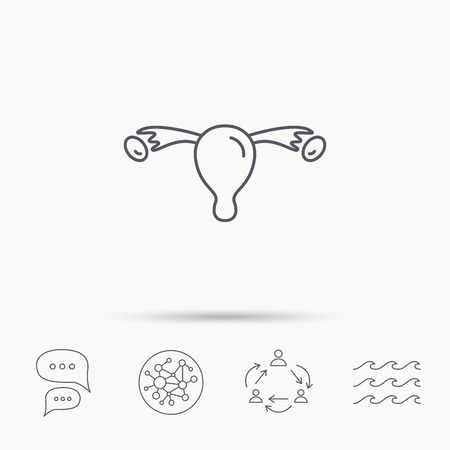 gynecology: Uterus icon. Ovary sign. Gynecology health symbol. Global connect network, ocean wave and chat dialog icons. Teamwork symbol. Illustration