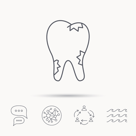 global health: Caries icon. Tooth health sign. Global connect network, ocean wave and chat dialog icons. Teamwork symbol.