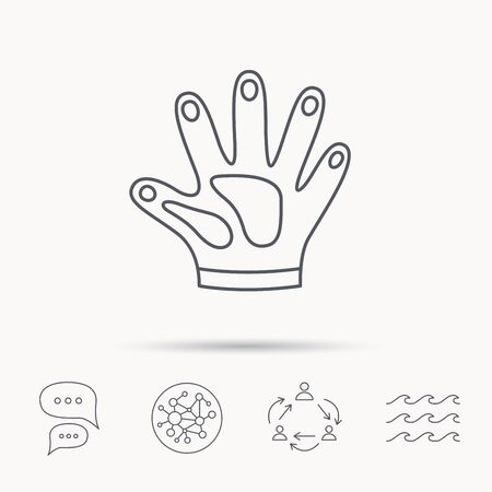 housework: Construction gloves icon. Textile hand protection sign. Housework cleaning equipment symbol. Global connect network, ocean wave and chat dialog icons. Teamwork symbol. Illustration