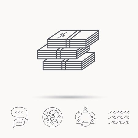 wads: Cash icon. Dollar money sign. USD currency symbol. 3 wads of money. Global connect network, ocean wave and chat dialog icons. Teamwork symbol.