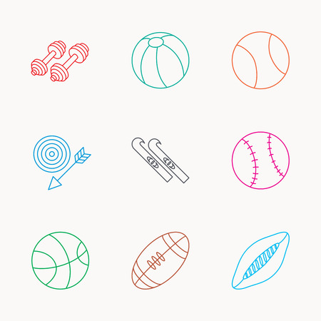 pilates ball: Sport fitness, tennis and basketball icons. Baseball, skis and American footmal signs. Rugby, swimming or pilates ball icons. Linear colored icons. Illustration