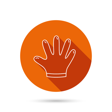 rubber gloves: Rubber gloves icon. Latex hand protection sign. Housework cleaning equipment symbol. Round orange web button with shadow.