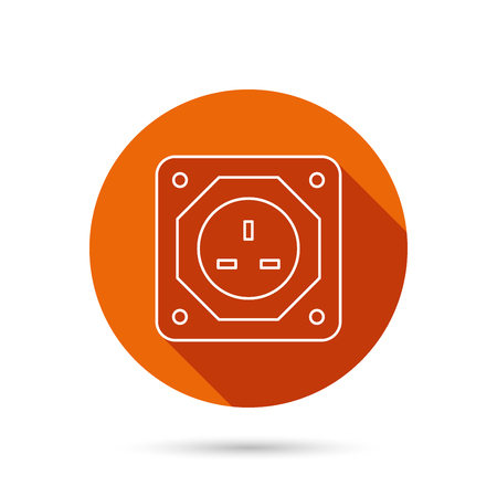 adapter: UK socket icon. Electricity power adapter sign. Round orange web button with shadow.
