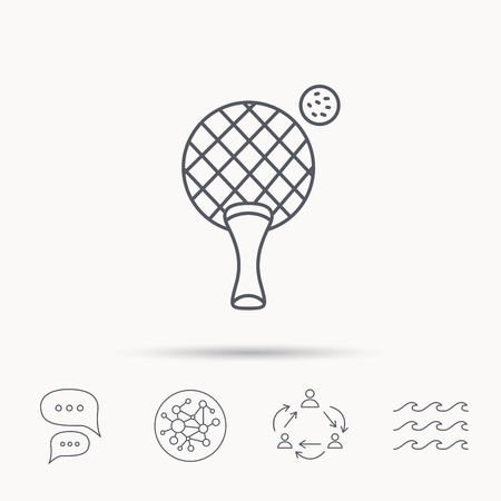 professional sport: Table tennis icon. Ping pong sign. Professional sport symbol. Global connect network, ocean wave and chat dialog icons. Teamwork symbol.
