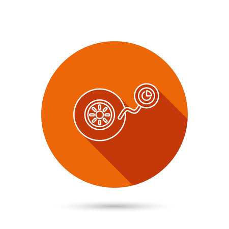 flaring: Wheel pressure icon. Tire service sign. Round orange web button with shadow. Illustration