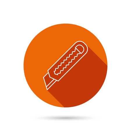 retractable: Paper knife icon. Cutter tool sign. Round orange web button with shadow.
