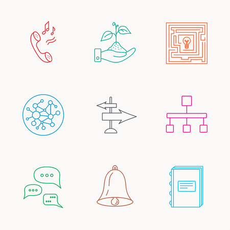 ringtone: Conversation, global network and direction icons. Save nature, maze and book linear signs. Bell and phone ringtone flat line icons. Linear colored icons. Illustration