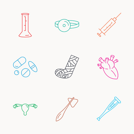 gynaecology: Syringe, beaker and pills icons. Crutch, medical hammer and mirror linear signs. Heart, broken leg and uterus ovary icons. Linear colored icons.