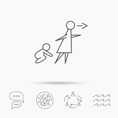 child care: Unattended baby icon. Babysitting care sign. Do not leave your child alone symbol. Global connect network, ocean wave and chat dialog icons. Teamwork symbol.