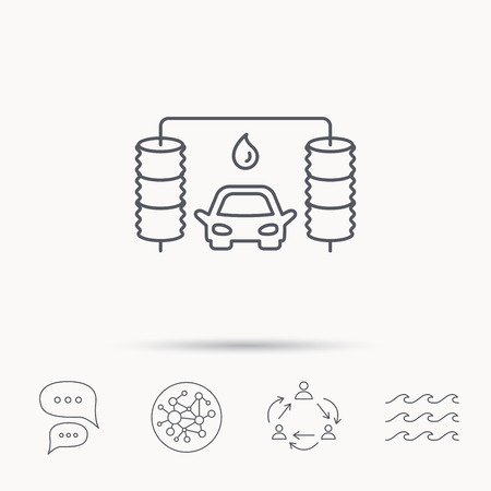 carwash: Automatic carwash icon. Cleaning station with water drop sign. Global connect network, ocean wave and chat dialog icons. Teamwork symbol. Illustration