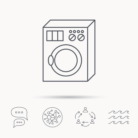 rinse: Washing machine icon. Washer sign. Global connect network, ocean wave and chat dialog icons. Teamwork symbol.
