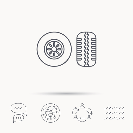 tire tread: Tire tread icon. Car wheel sign. Global connect network, ocean wave and chat dialog icons. Teamwork symbol.
