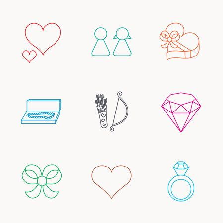 amour: Love heart, brilliant and engagement ring icons. Bow, couple and gift box linear signs. Valentine amour arrows flat line icons. Linear colored icons. Illustration