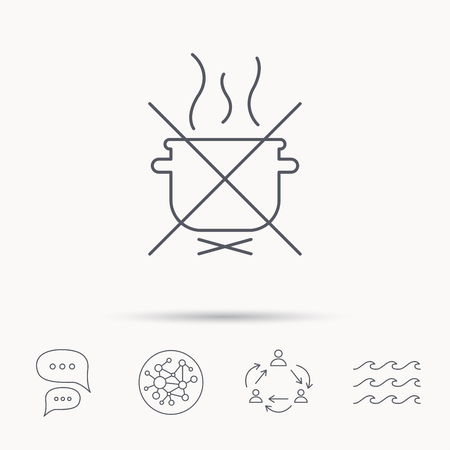 do cooking: Boiling saucepan icon. Do not boil water sign. Cooking manual attenction symbol. Global connect network, ocean wave and chat dialog icons. Teamwork symbol.
