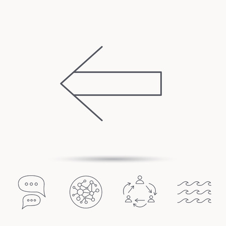 global direction: Back arrow icon. Previous sign. Left direction symbol. Global connect network, ocean wave and chat dialog icons. Teamwork symbol.