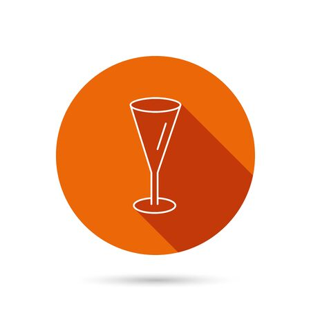 champagne orange: Champagne glass icon. Goblet sign. Alcohol drink symbol. Round orange web button with shadow.