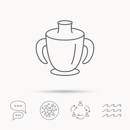 spout: Toddler spout cup icon. Baby mug sign. Flip top feeding bottle symbol. Global connect network, ocean wave and chat dialog icons. Teamwork symbol.