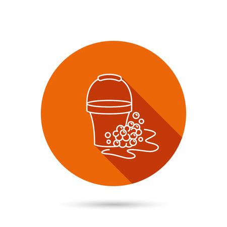 soapy: Soapy cleaning icon. Bucket with foam and bubbles sign. Round orange web button with shadow.