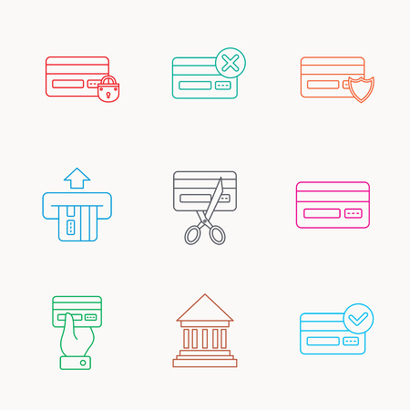 blocked: Bank credit card icons. Banking, blocked and expired debit card linear signs. Money transactions and shopping icons. Linear colored icons.
