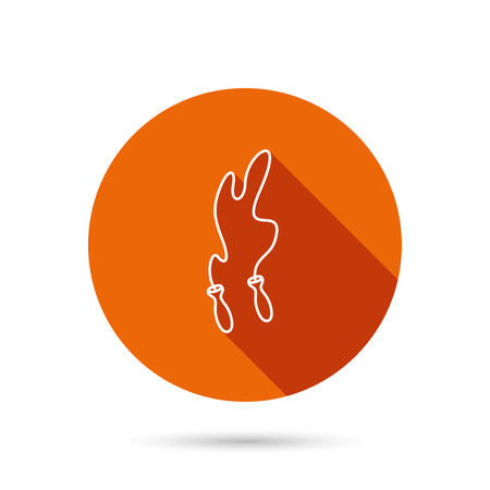 icon buttons: Skipping rope icon. Jumping sport tool sign. Cardio fitness symbol. Round orange web button with shadow. Illustration