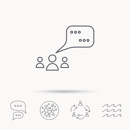 dialog balloon: Meeting icon. Chat speech bubbles sign. Speak balloon symbol. Global connect network, ocean wave and chat dialog icons. Teamwork symbol.