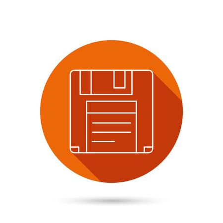 Floppy disk icon. Retro data storage sign. Round orange web button with shadow.