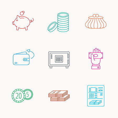 pig out: Piggy bank, cash money and wallet icons. Safe box, send money and dollar usd linear signs. Give money, coins and ATM icons. Linear colored icons. Illustration