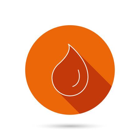Water drop icon. Liquid sign. Freshness, condensation or washing symbol. Round orange web button with shadow.