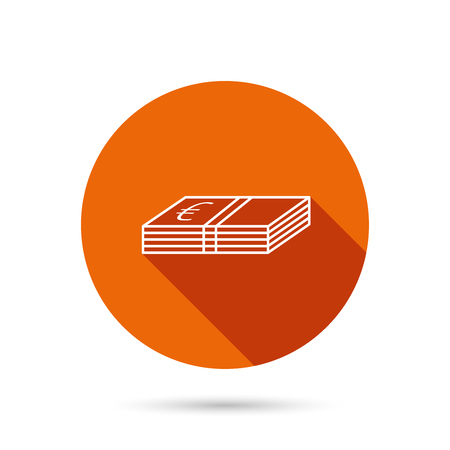 eur: Cash icon. Euro money sign. EUR currency symbol. Round orange web button with shadow.