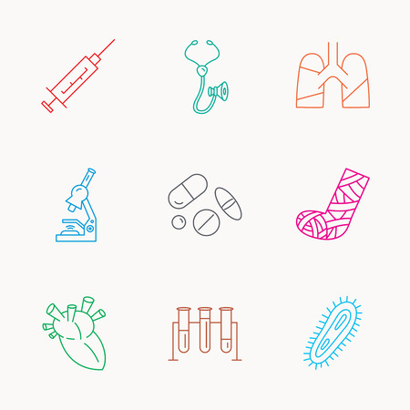 bacteria in heart: Broken foot, lungs and syringe icons. Stethoscope, pills and microscope linear signs. Bacteria, heart and lab bulbs flat line icons. Linear colored icons.