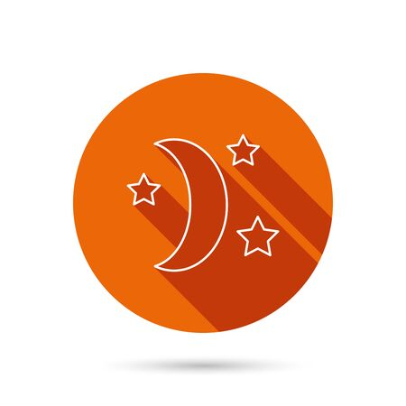 moonbeam: Night or sleep icon. Moon and stars sign. Crescent astronomy symbol. Round orange web button with shadow.