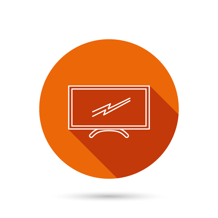 lcd display: Lcd tv icon. Led monitor sign. Widescreen display symbol. Round orange web button with shadow. Illustration