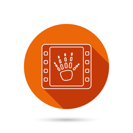 long recovery: Hand X-ray icon. Human skeleton sign. Round orange web button with shadow.