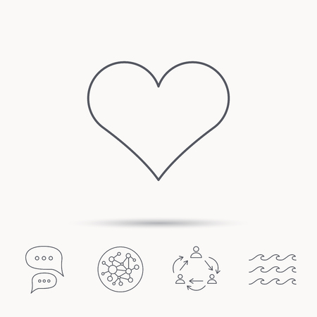 february 1: Heart icon. Love sign. Life symbol. Global connect network, ocean wave and chat dialog icons. Teamwork symbol.