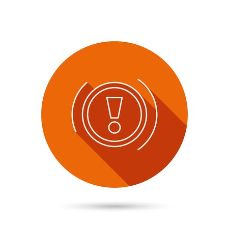 dashboard: Warning icon. Dashboard attention sign. Caution exclamation mark symbol. Round orange web button with shadow. Illustration