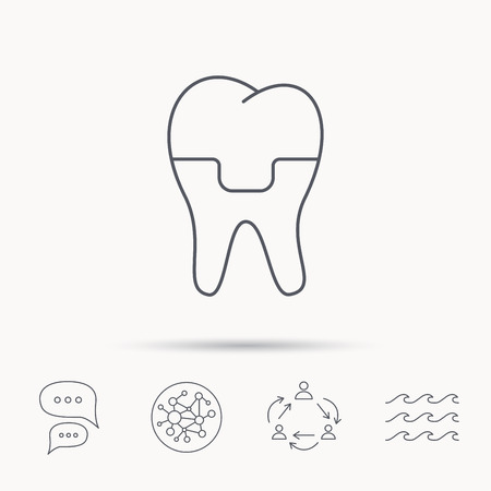 alumina: Dental crown icon. Tooth prosthesis sign. Global connect network, ocean wave and chat dialog icons. Teamwork symbol.