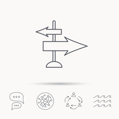 travel guide: Direction arrows icon. Destination way sign. Travel guide symbol. Global connect network, ocean wave and chat dialog icons. Teamwork symbol. Illustration