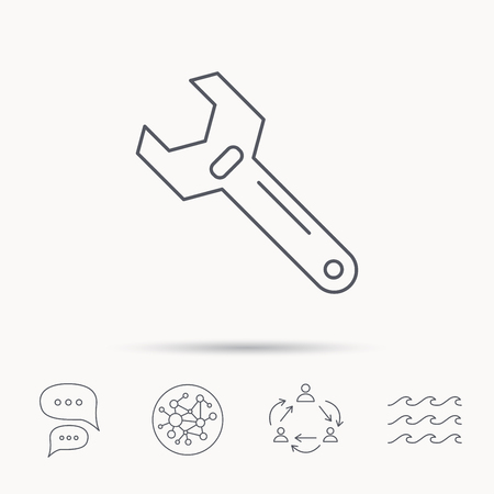 adjustable: Wrench key icon. Adjustable repair tool sign. Global connect network, ocean wave and chat dialog icons. Teamwork symbol. Illustration