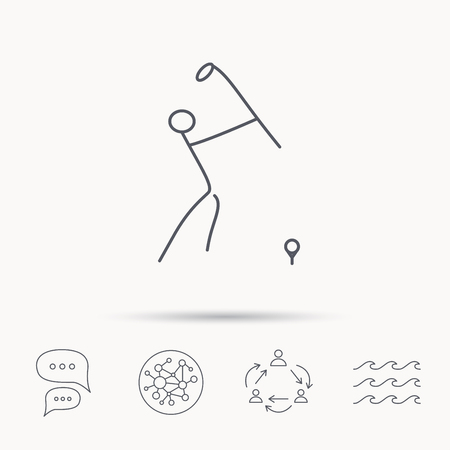 golfing: Golf club icon. Golfing sport sign. Professional equipment symbol. Global connect network, ocean wave and chat dialog icons. Teamwork symbol. Illustration