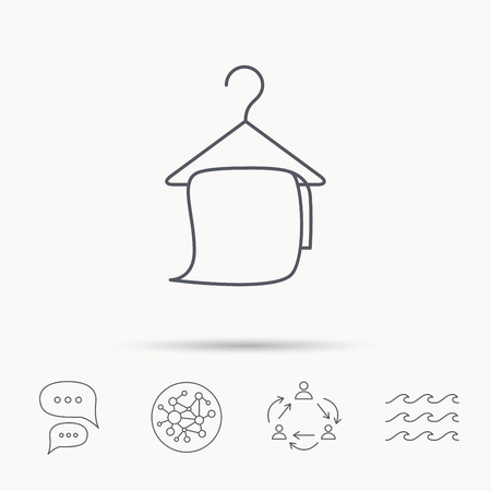 cleaning bathroom: Bath towel icon. Cleaning service sign. Bathroom hanger symbol. Global connect network, ocean wave and chat dialog icons. Teamwork symbol.