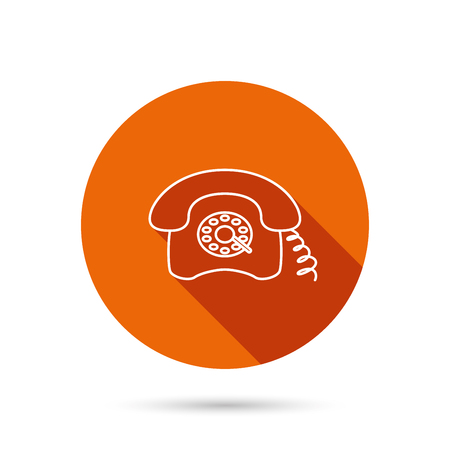 antiquated: Retro phone icon. Old telephone sign. Round orange web button with shadow.