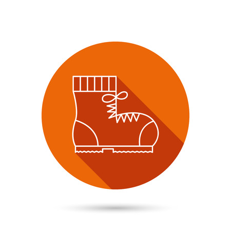 footwear: Boot icon. Hiking or work shoe sign. Military footwear symbol. Round orange web button with shadow.