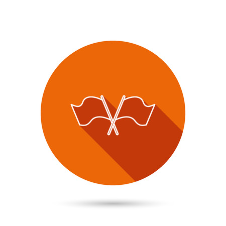 crosswise: Crosswise waving flag icon. Location pointer sign. Round orange web button with shadow.