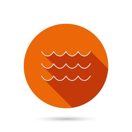 sea water: Waves icon. Sea flowing sign. Water symbol. Round orange web button with shadow. Illustration