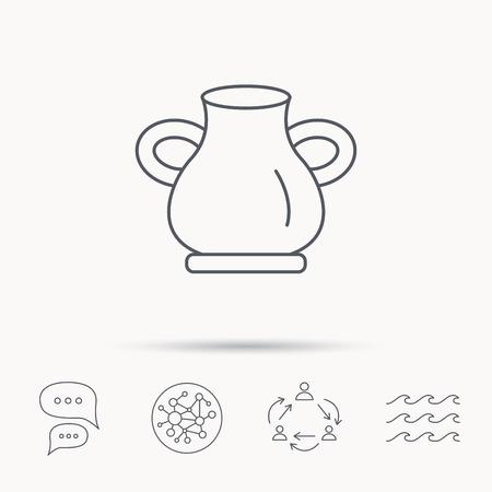 amphora: Vase icon. Decorative vintage amphora sign. Global connect network, ocean wave and chat dialog icons. Teamwork symbol.