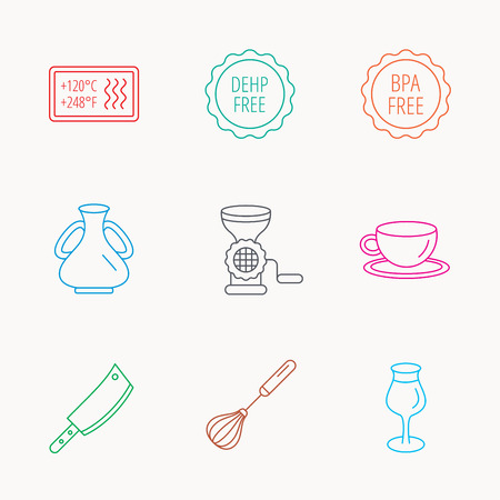 bpa: Coffee cup, butcher knife and wineglass icons. Meat grinder, whisk and vase linear signs. Heat-resistant, DEHP and BPA free icons. Linear colored icons.