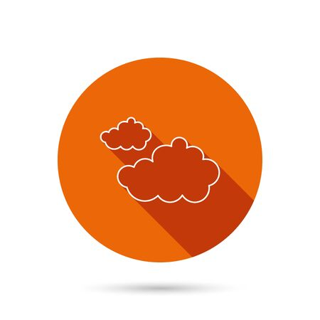 overcast: Cloudy icon. Overcast weather sign. Meteorology symbol. Round orange web button with shadow.