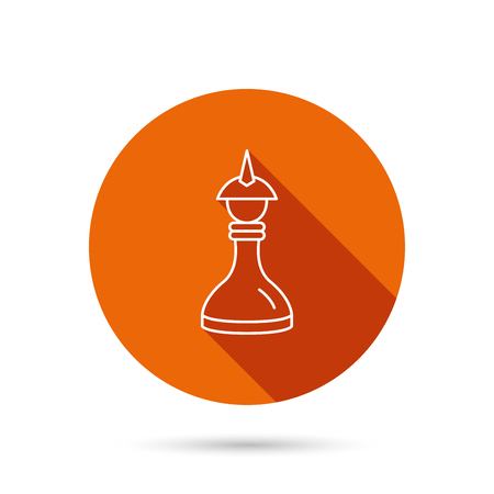 mind game: Strategy icon. Chess queen or king sign. Mind game symbol. Round orange web button with shadow.